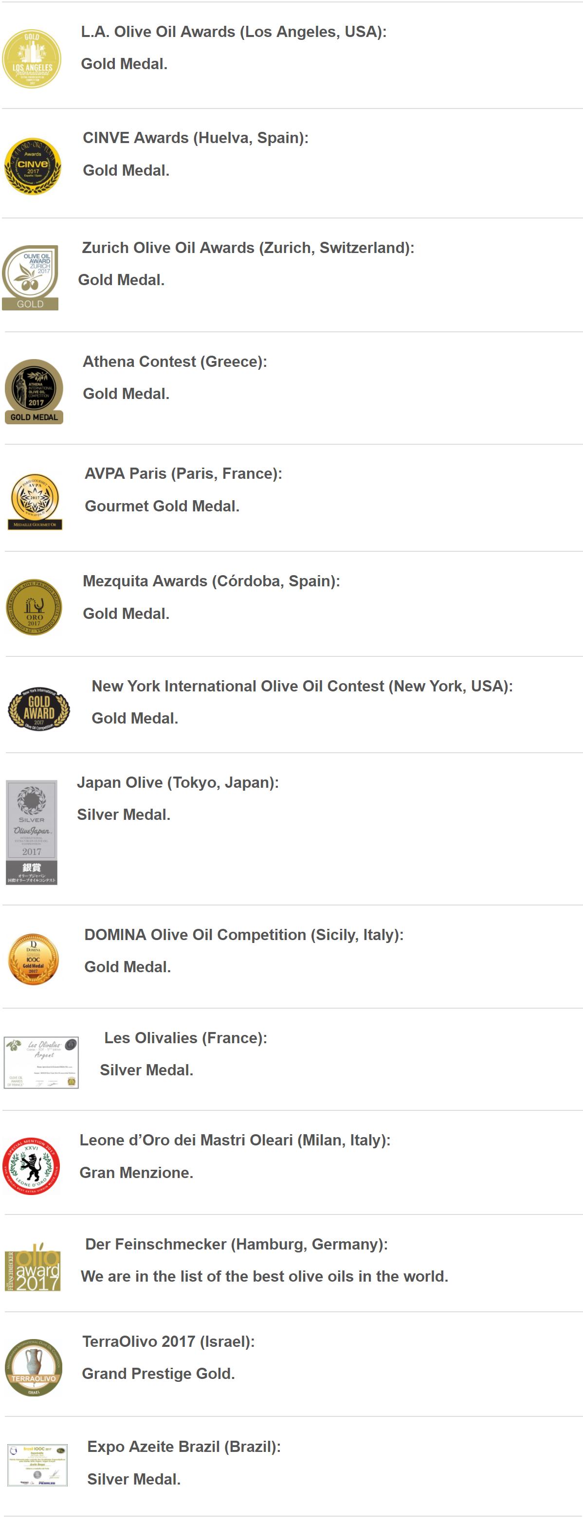 國際橄欖油競賽獲獎無數