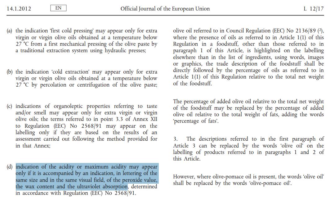 歐盟(EU)規定標籤上不得標示橄欖油的酸度