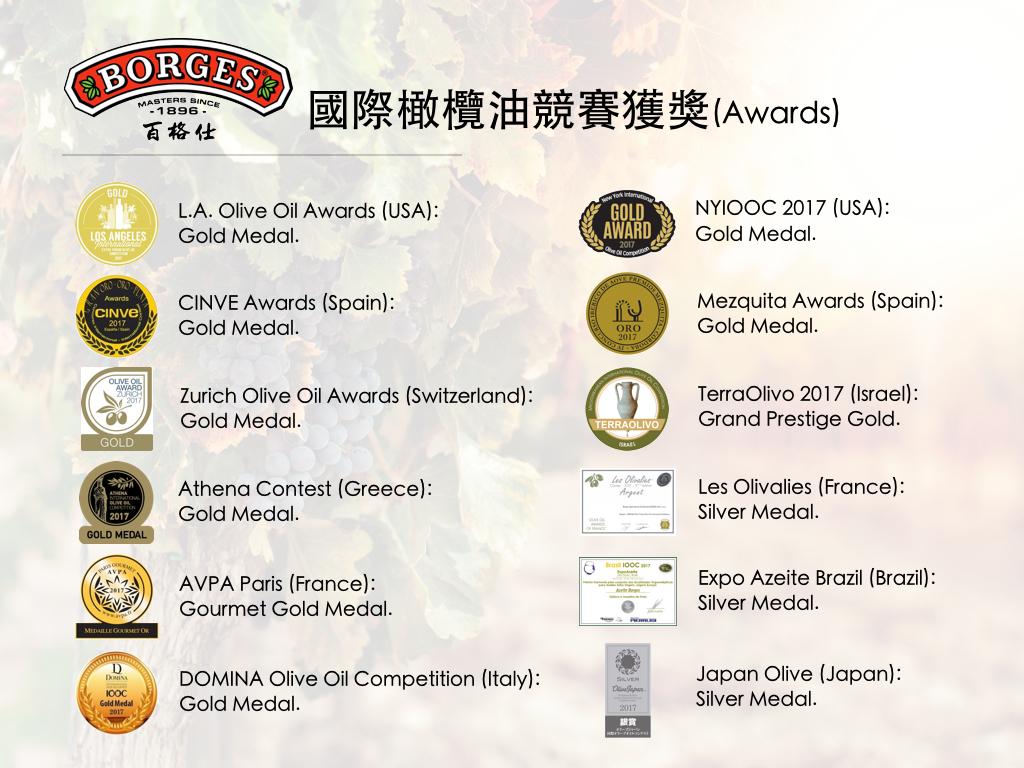 國際橄欖油競賽獲獎(Awards)