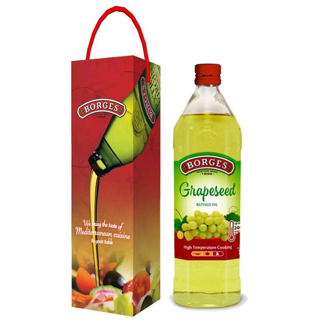 葡萄籽油1L-100%純葡萄籽油,油質穩定耐高溫,是煎煮炒炸、烘焙等各式高溫烹調的最佳選擇。 2